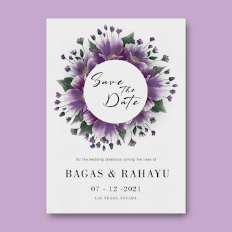 Save the date card template with watercolor flower decoration