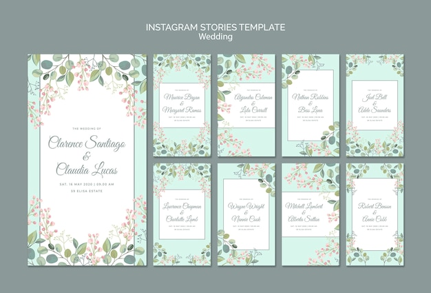 Save the date floral wedding instagram stories