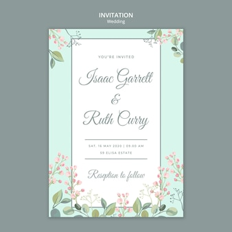 Save the date floral wedding invitation template