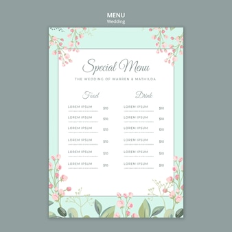 Save the date floral wedding menu template
