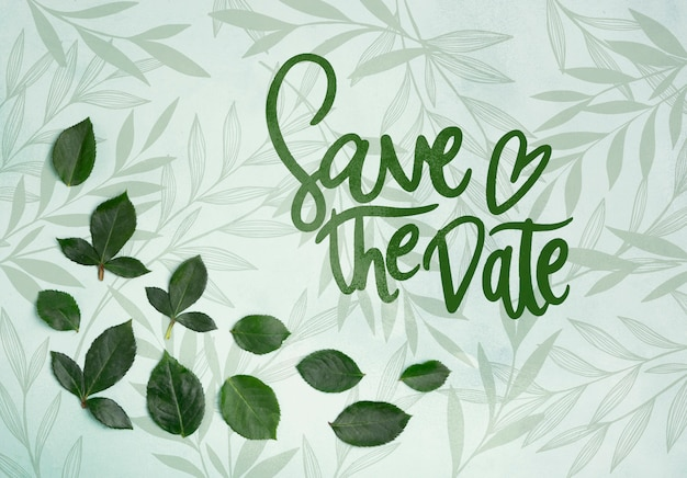 Save the date flowers concept mock-up