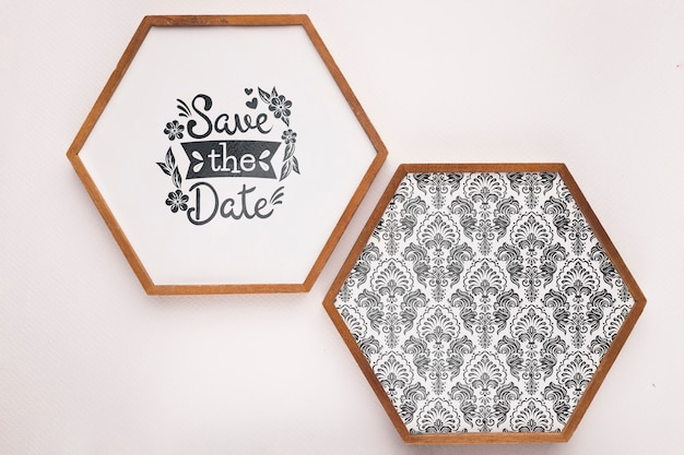 Save the date mock-up minimalist  hexagonal frames