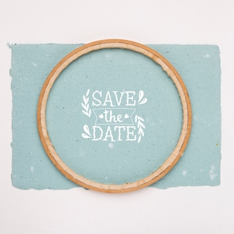Save the date mock-up minimalist top view