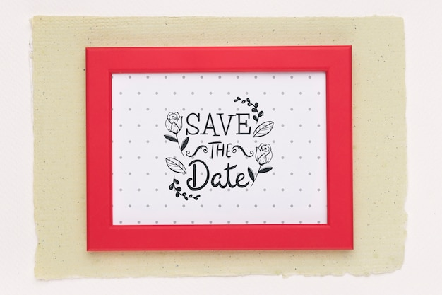 Save the date mock-up red frame top view