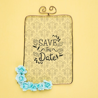 Save the date mock-up victorian frame with blue flowers