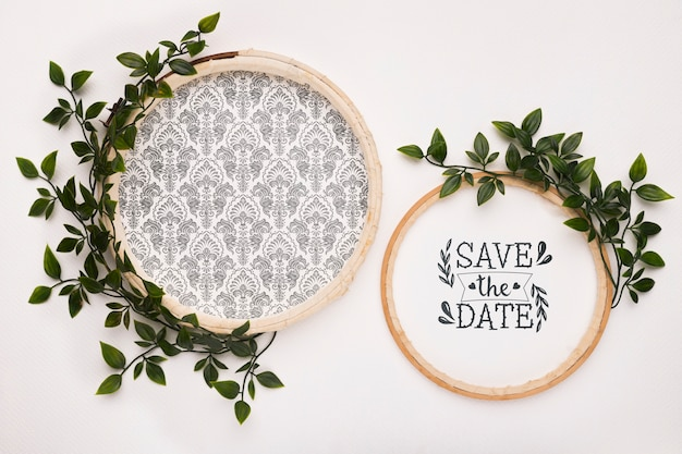 Save the date mock-ups with leaves