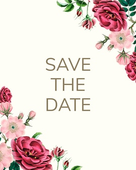 Save the date mockup with roses