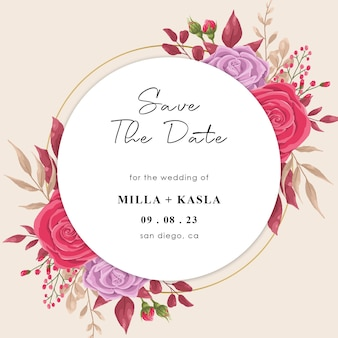 Save the date template with flowers template
