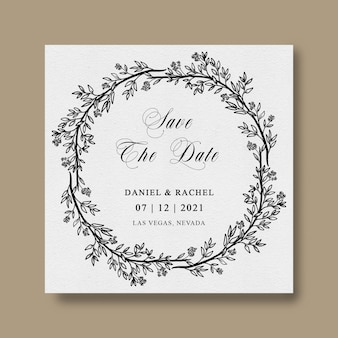 Save the date template with leaf leaf sketch frame