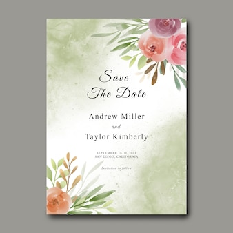Save the date template with watercolor flower bouquet