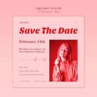 Salva il volantino quadrato della data di san valentino