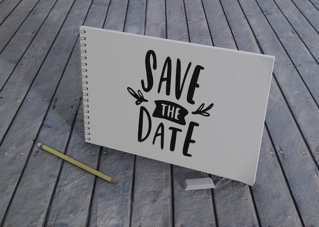Save the date wedding invitation on wooden background