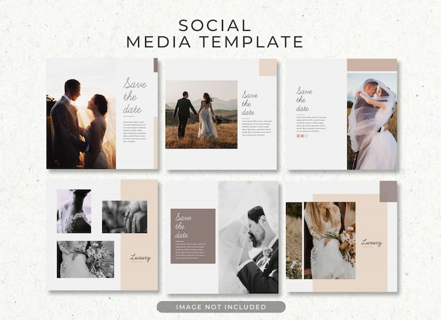 Save the date wedding post template collection psd