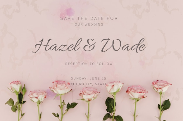 Save the date wedding with roses