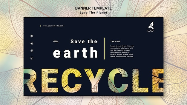 Save the earth banner template