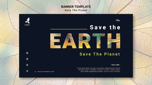 Save the earth horizontal banner template