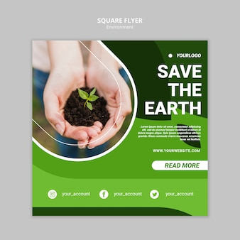 Save the earth square flyer template
