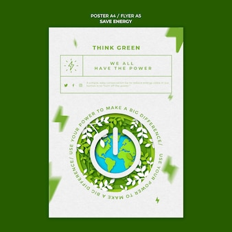 Save energy flyer template