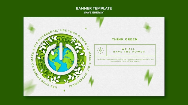 Save energy horizontal banner template