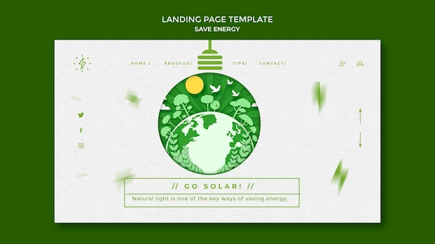 Save energy landing page template