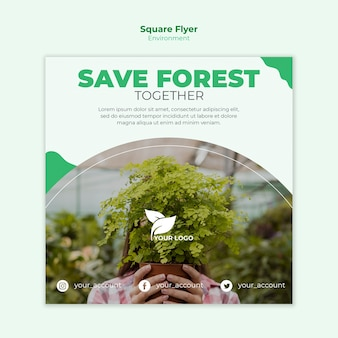 Save the forest square flyer template