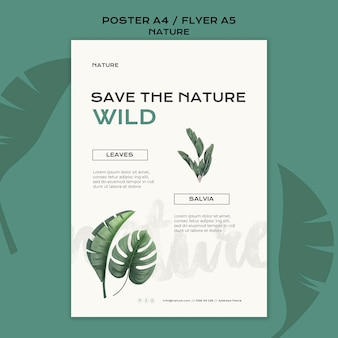 Save the nature poster template Free Psd
