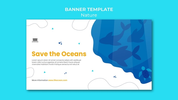Save the oceans banner template