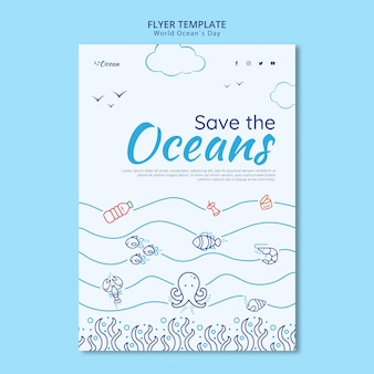Save the oceans flyer template