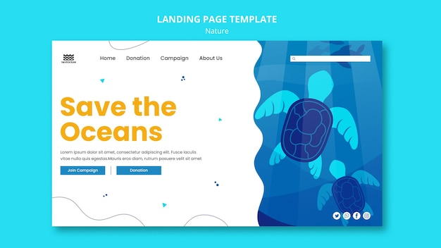 Save the oceans landing page template