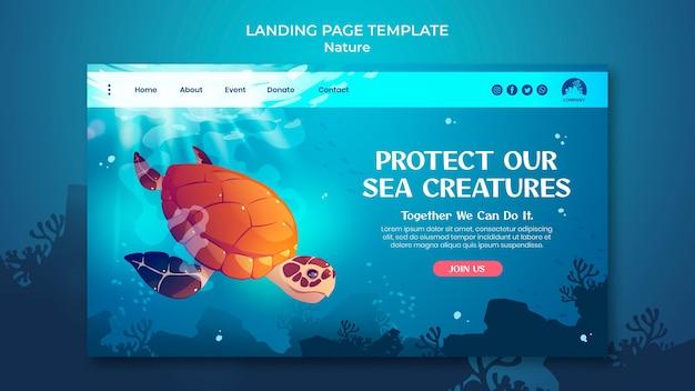 Salva la pagina di destinazione degli oceani