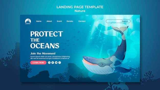 Save the oceans landing page