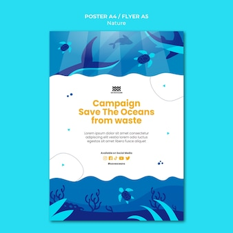 Save the oceans print template