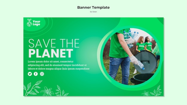 Save the planet banner template