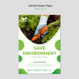 Save the planet environmental poster template