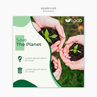 Save the planet flyer template with hands holding soil with plants