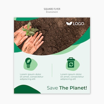 Save the planet flyer template with hands planting in soil