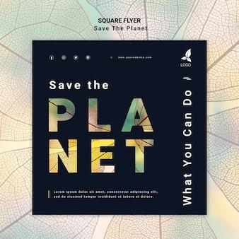 Salva il tema volantino pianeta