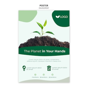 Save the planet poster template with plant and soil