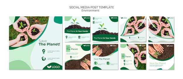 Save the planet social media post template