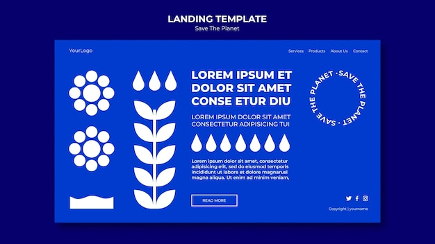 Save the planet template landing page
