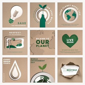 Save the planet templates psd for world environment day campaign set