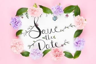 Save the date card mockup with roses