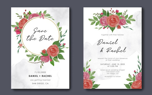 Сохраните шаблоны свиданий и свадебные приглашения с акварельными цветочными украшениями