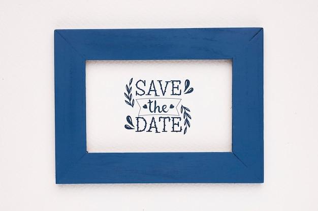 Сохранить дату макет темно-синей рамкой