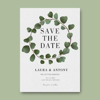 Сохраните шаблон даты с акварельной рамкой из листьев эвкалипта