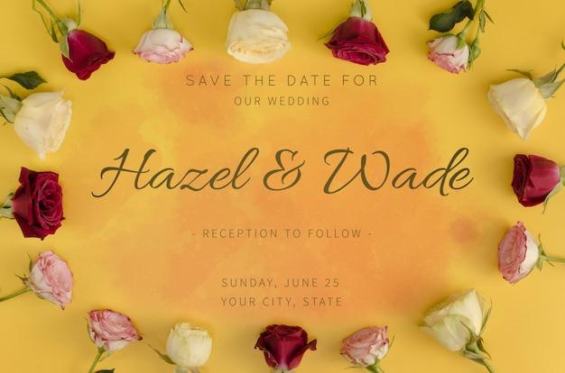 デートの結婚式とバラのフレームを保存