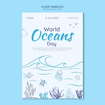 Save the underwater world flyer template