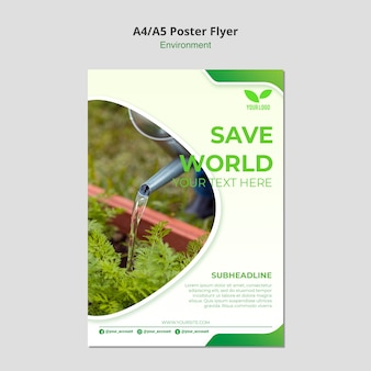 Save the world environmental flyer template