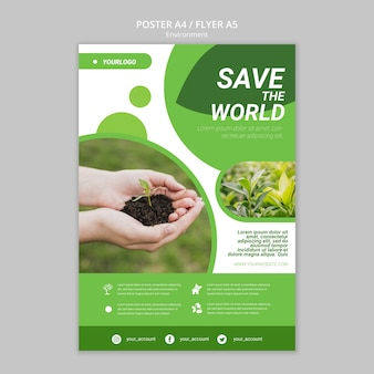 Save the world poster template