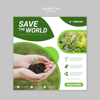 Save the world square flyer template